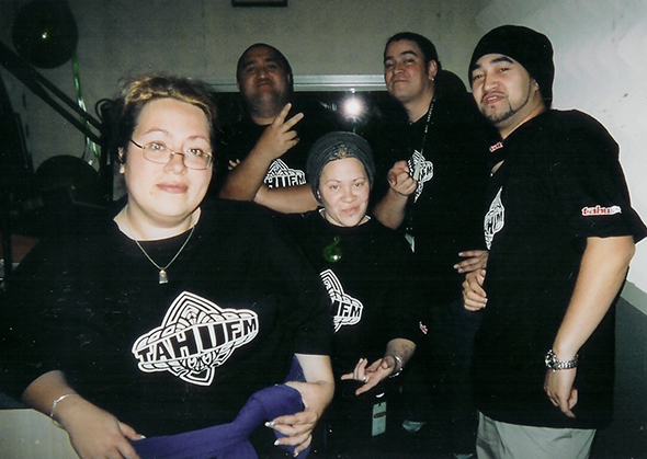 From left, Lisa Reedy, Sheree (Sista) Waitoa, George Huhu, Aaron (Goose) Munro, and Aubrey (Aubz) Hughes. Sista continues to work at Tahu FM and is a co-host of the Big Breakfast show with Rocky Roberts.