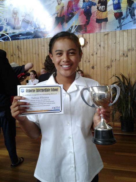 Tahua Pihema with her competition prize.