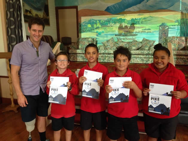 From left: Tamahou, Nephai, Kye and Te Rau Aroha who will be participating in the William Pike Challenge Award, received their information packs from William Pike.