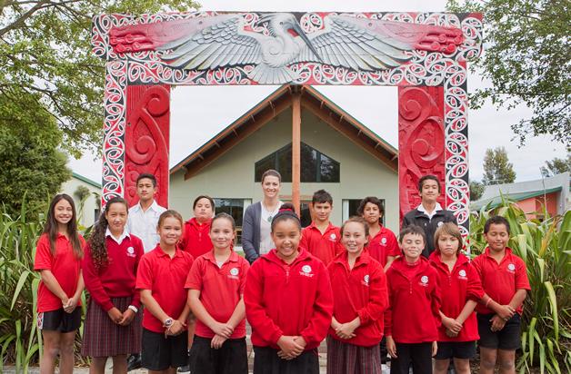 Tamariki from Te Kura Kaupapa Maori o Te Whanau Tahi in Christchurch.