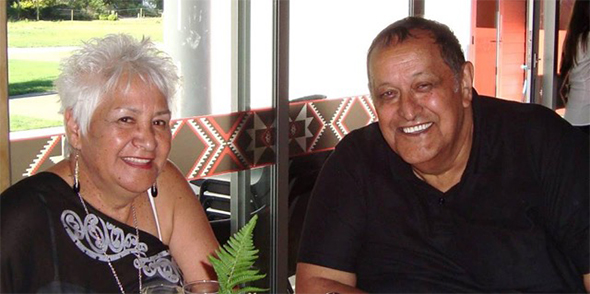 Taua Meri and pōua Charlie Crofts.