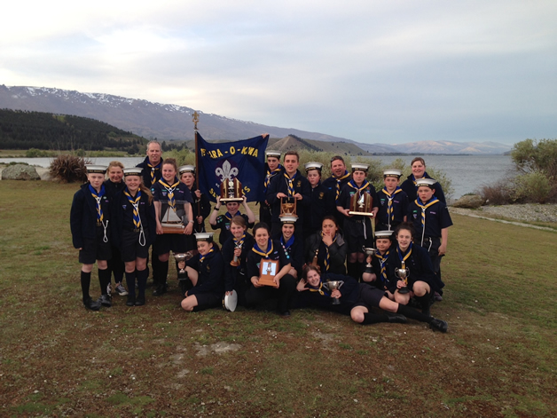 Te Ara o Kiwa Sea Scouts with all of their trophies.