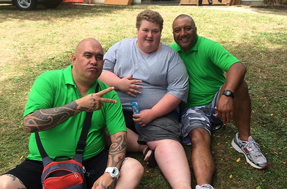 Te Hāmua Nikora, Liam Ellison and Rob Hewitt at the camp.