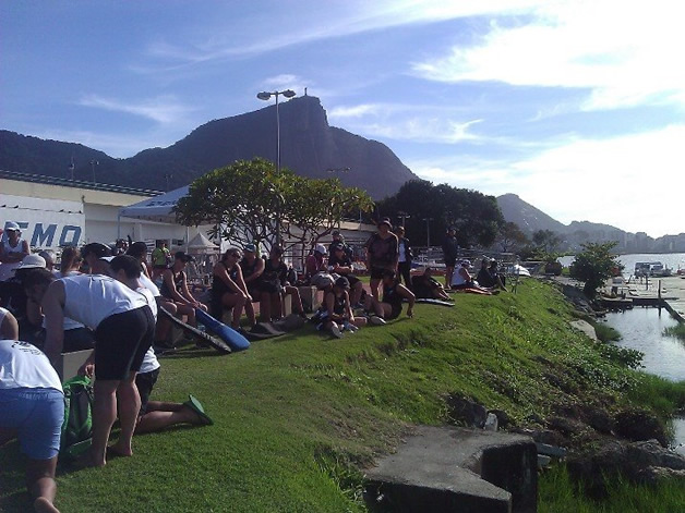 Team New Zealand at the race venue on practice day with Christ the Redeemer watching from above.