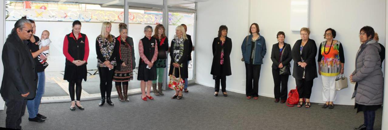 Tewera King with invited guests and staff at the opening of Arowhenua Whānau Services clinic.