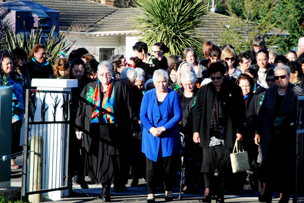 The Honourable Tariana Turia, Minister for Whānau Ora (centre) is welcomed onto Tuahiwi Marae.