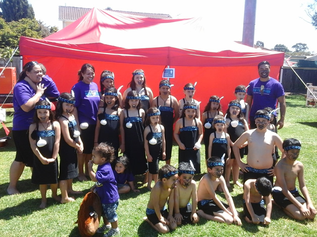 The Melbourne kapa haka group poses for the camera.