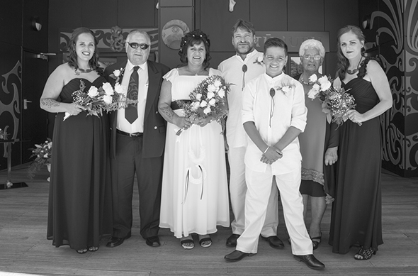 The bridal party from left, Ari (daughter of bride) Gordan Weaver (father of bride) Miriama and Lance Johnsen, Quinn (best man and son of bride and groom) Iris Weaver (mother of bride) and Amber (daughter of bride).