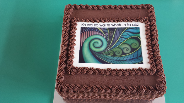 The celebration cake for the official opening of the whare.