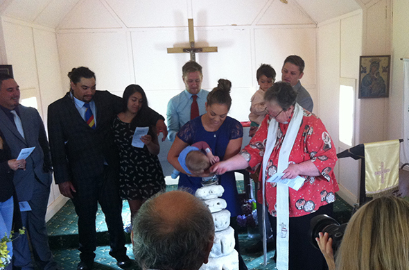 The christening at St Peter's Church Jacobs River of Beau Jack and Nixon Paitoto Condon.