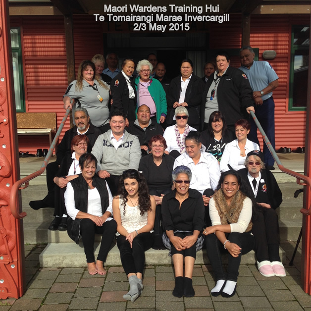 The first group of Māori warden trainees at the training session.