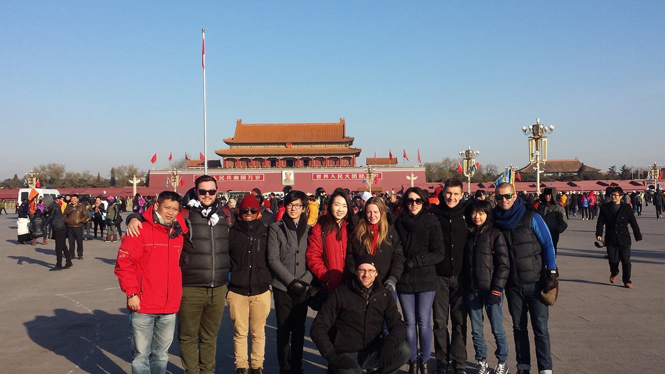 The group of students with one of their tutors in Beijing.
