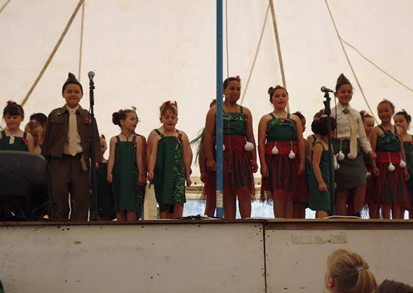 The host kura, Hokitika Primary School during their performance.