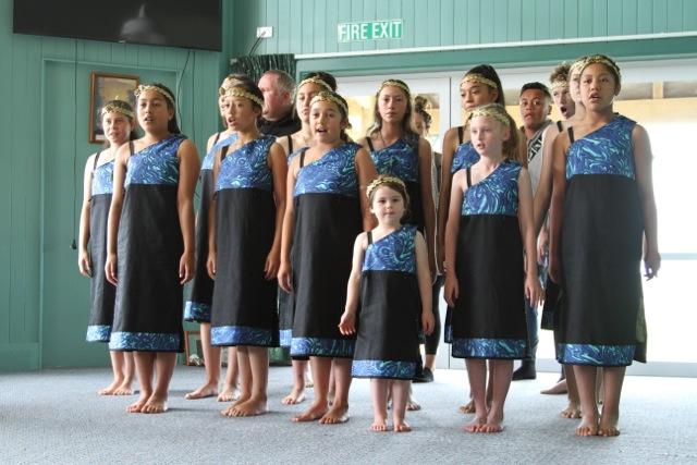 The kapa haka group performing at the Christmas Party.
