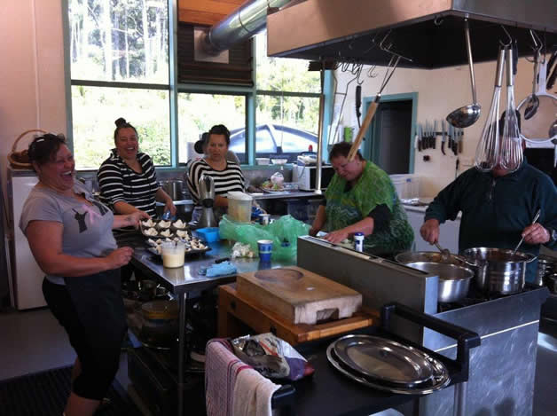 The main kitchen crew, Rachael Forsyth, left, Susan Wallace, Chez Karamea, Helen and Ian Rasmussen (obscured).