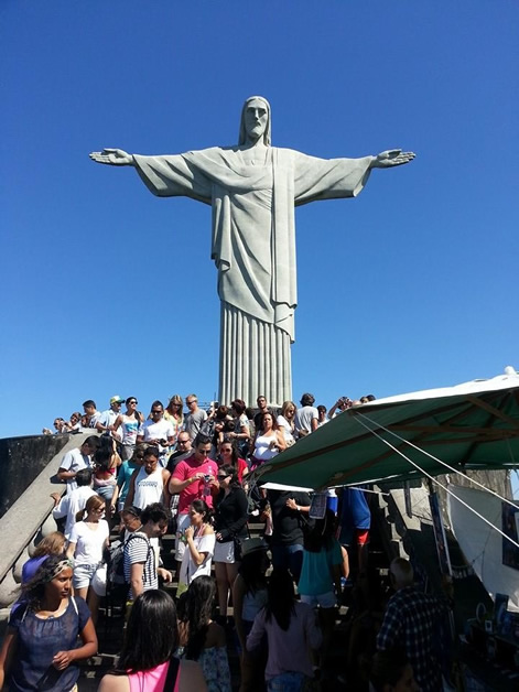 The masses at the footsteps of Cristo Redentor (Christ the Redeemer) - a must do, such an amazing view and an ever-present symbol of Rio.