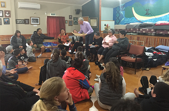 The rōpū listening to a kōrero from David Higgins.