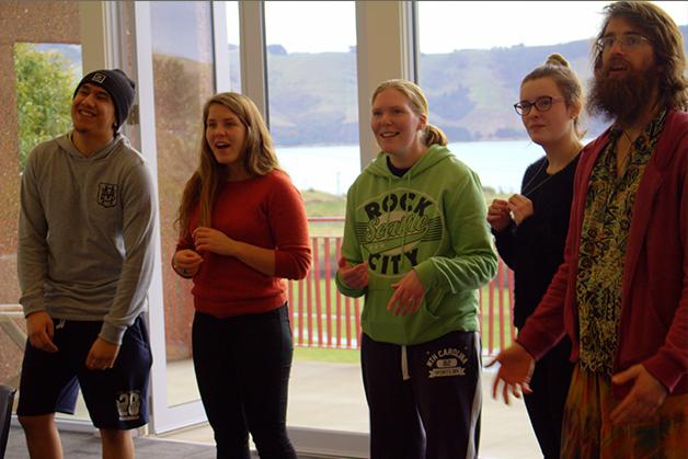 The students practising a waiata at the marae.