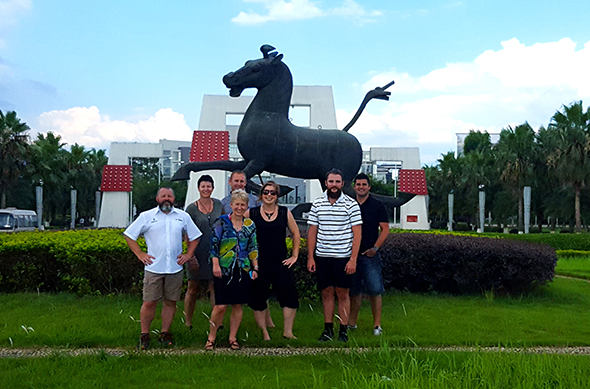 The study tour group outside Guilin Tourism University.