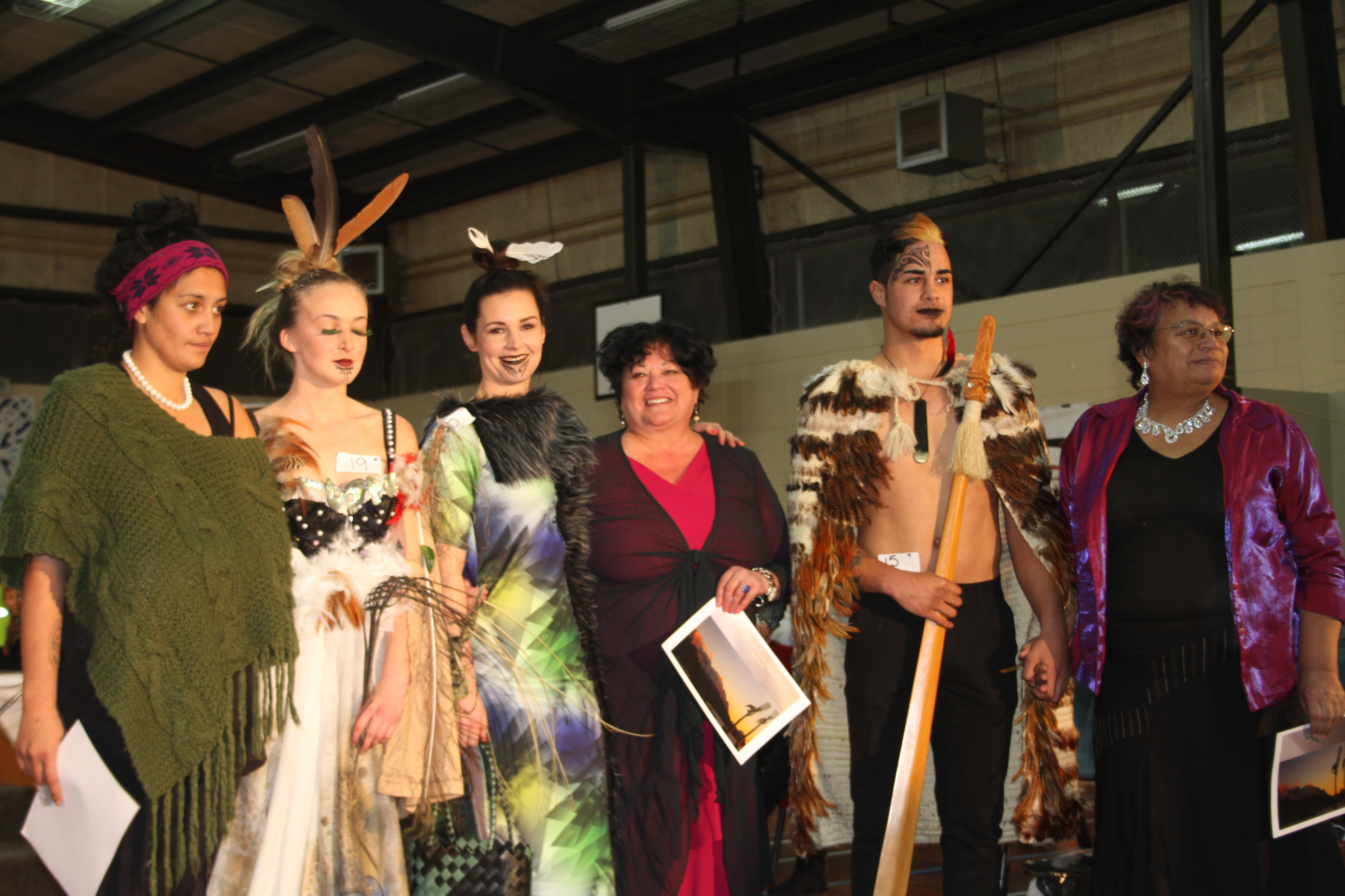 The three finalists and their models and garments. From Left Soraya Jones, Courtney Pattison-Hall, Lois Vallance, Eia Pohia-Green and Karen Starkey.