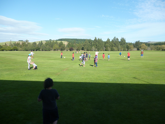 The weather was fine, giving the kids a chance to get out on the field.