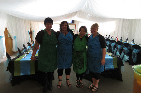 The whare and our kaiāwhina ready to go. From left, Diana Panapa-Coulston, Rachael Forsyth, Julianna Zweis and Bronwyn Te Koeti.