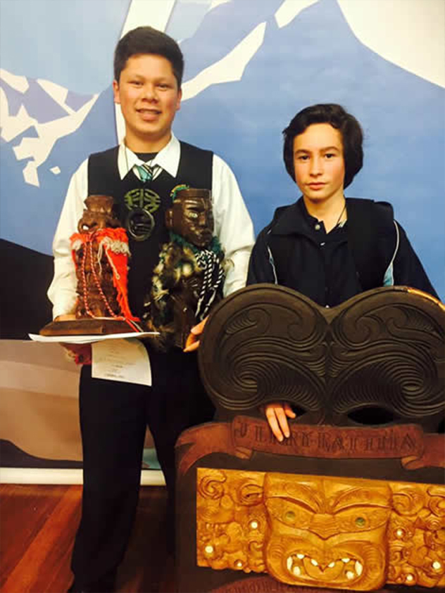 From left, Thomas Aerepo-Morgan and Tūmai Cassidy with their winning trophies.