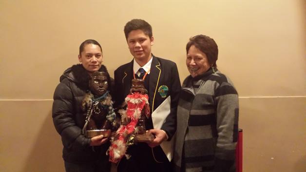 Thomas Aerepo-Morgan with his Mum, Mali Morgan, left and his nanny, Hana Morgan, right.