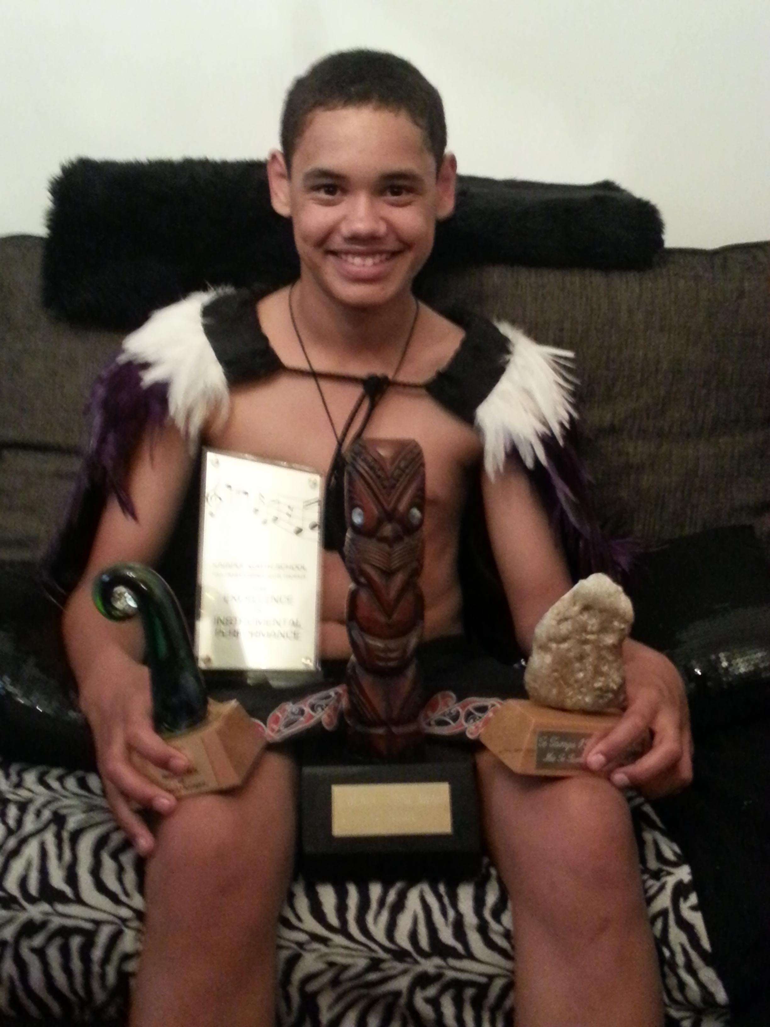 Tiaki Burgman with his taonga.