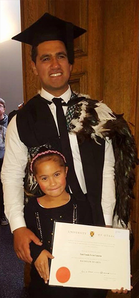 Tiaki and his niece at the Graduation.