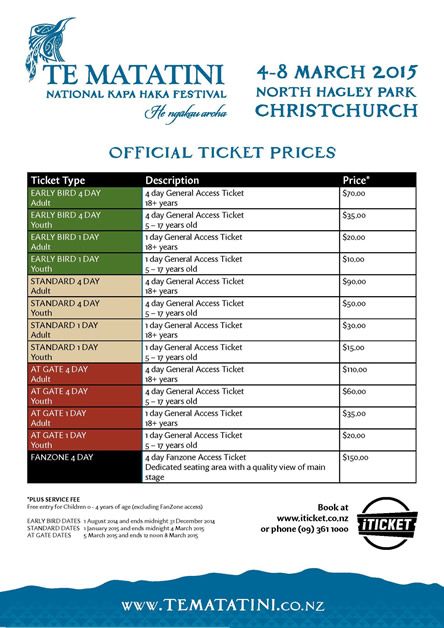 Ticket price table.