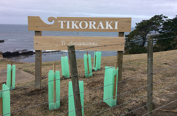 Tikoraki signage in place and native trees planted.
