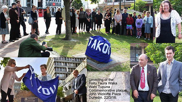 Whānau, representatives of Pouhere taonga/Heritage NZ and friends gather to take part in the blessing and unveiling of the Toitū Tauraka Waka Wāhi Tūpuna commemorative plaque at the John Wickliffe Plaza.