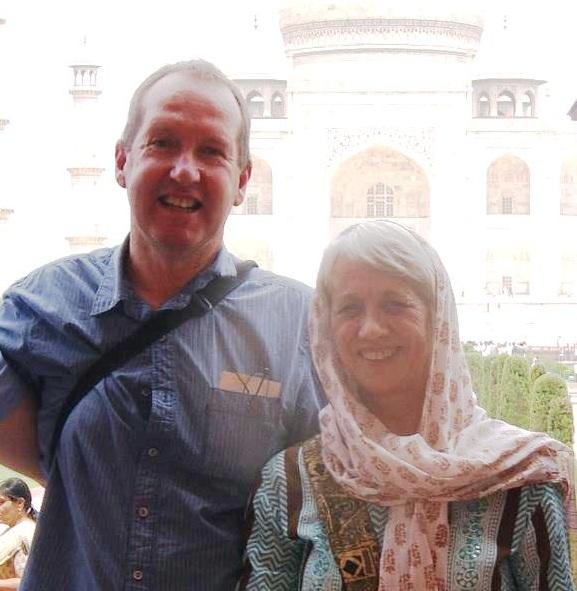 Tony and Jan at the Taj Mahal.