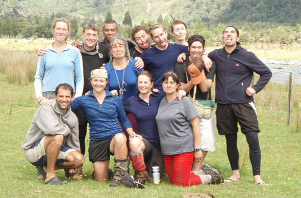 Tracey, in front, second from right with her Kupe rōpū on Aoraki Bound in 2008.