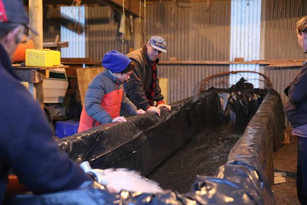Tumai Tamati-Cassidy and Edward Ellison check out the waka tank.