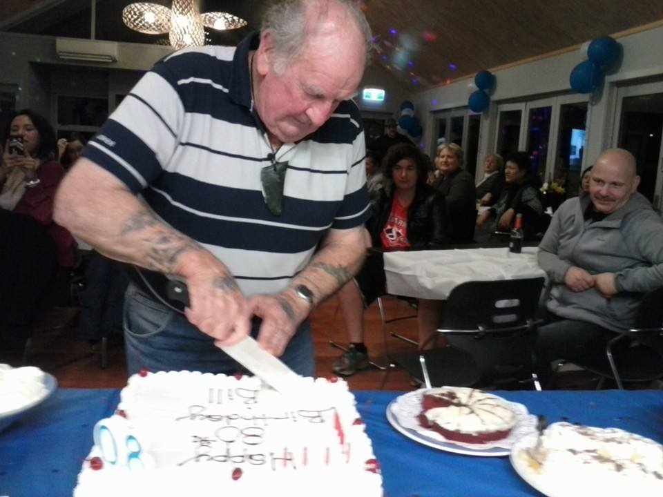 Uncle Bill and his yummy cake.