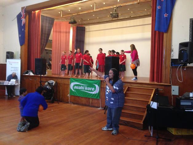 Uncle Joe Mason our MC for the day introducing Hokitika Primary kapa haka kids.