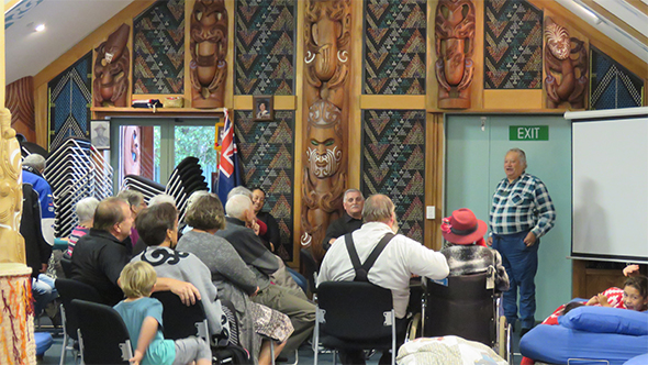 "Upoko rūnanga, Richard Wallace welcomes everyone to the ""matinee"" session of the Makaawhio movie night."