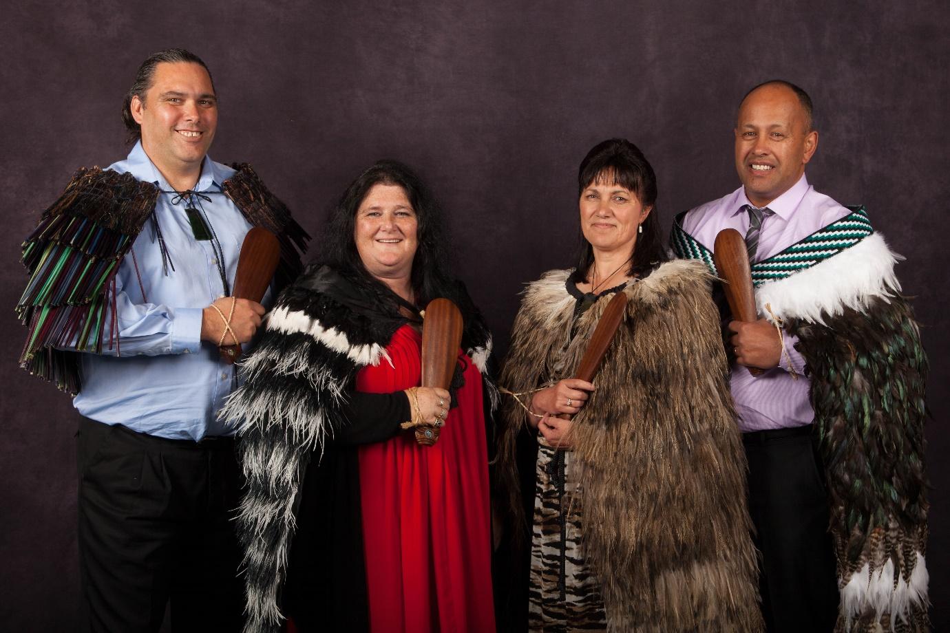 From left, Darren Solomon (Kāi Te Rakiamoa, Kāti Huirapa), Michelle Turrall (Ngāi Tūāhuriri, Ngāti Irakehu), Zhonia Rewiti (Te Atihaunui a Pāpārangi, Ngāti Tūwharetoa) and Nepia Reweti (Te Atihaunui a Pāpārangi, Ngāti Whātua, Rongowhakaata).