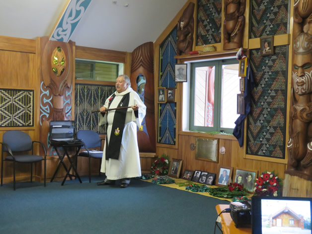 Venerable Richard Wallace, welcoming everyone to the service as part of the mihi whakatau.