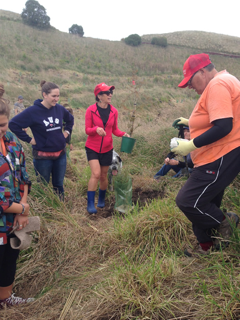 Volunteers join the local community in planting natives at Huriawa pā.