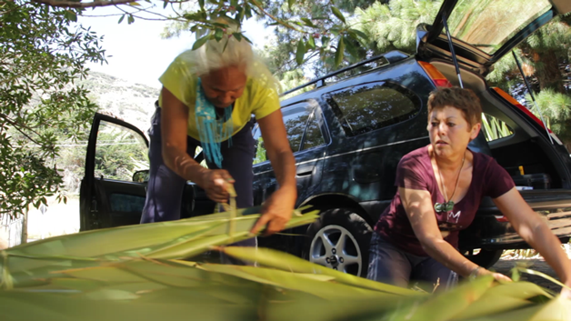 Whaea Makere Pike and Pattyanne Oberst loading the car with harakeke.