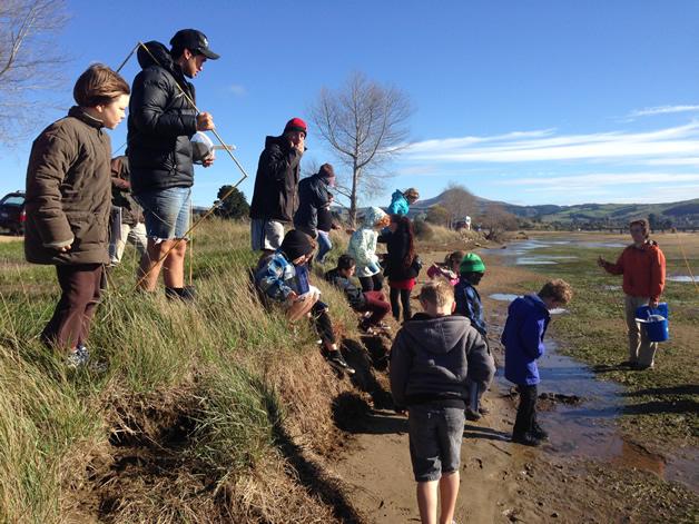 Waiariki Parata-Taiapa joins forces with tamariki from Karitāne School to do surveys of the estuary with East Otago Taiapure.