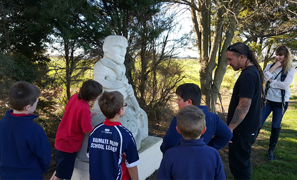 Waimate Main School students during their visit.