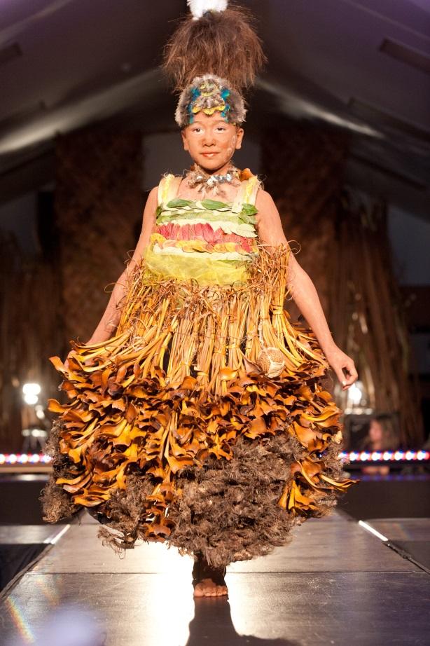 Wairāmia Taratoa-Bannister modelling 'Rahera', by Kelly Tikao and whānau.