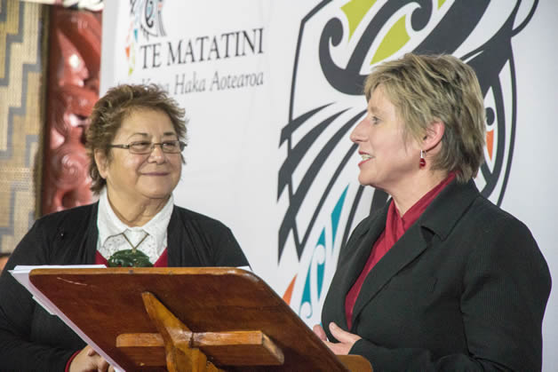 Waitaha Cultural Council chair Ranui Ngarimu and Christchurch Mayor Leanne Dalziel.