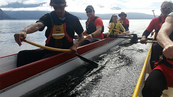 Waka Ama team on the lake.