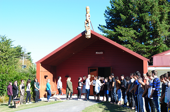 Welcoming the Inuit students from Canada's Arctic to Wairewa Marae.