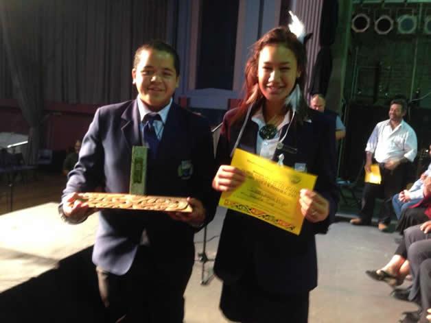 Westland High Kapa Haka receiving their trophy for Waiata Tira.